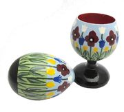 Hand-painted Eggcup and Egg