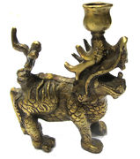 Bronze lion candle stand