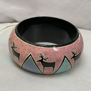 Hand-painted  Bracelet, sponged pink