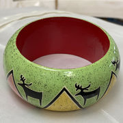 Hand-painted  Bracelet, sponged green