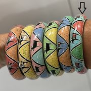 Copy of Hand-painted  Bracelet, green-pink-yellow