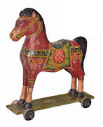 Big decorative wooden horse on wheels THC 757