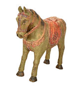 Indian horse statue with old patina 51 x 47 cm