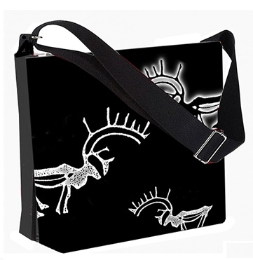 Canvas Sling Bag, Stylish Shaman Reindeer Design,  30x25 cm,