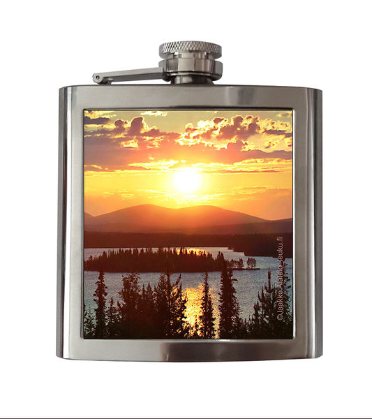 Steel Hip Flask,  Midnight Sun