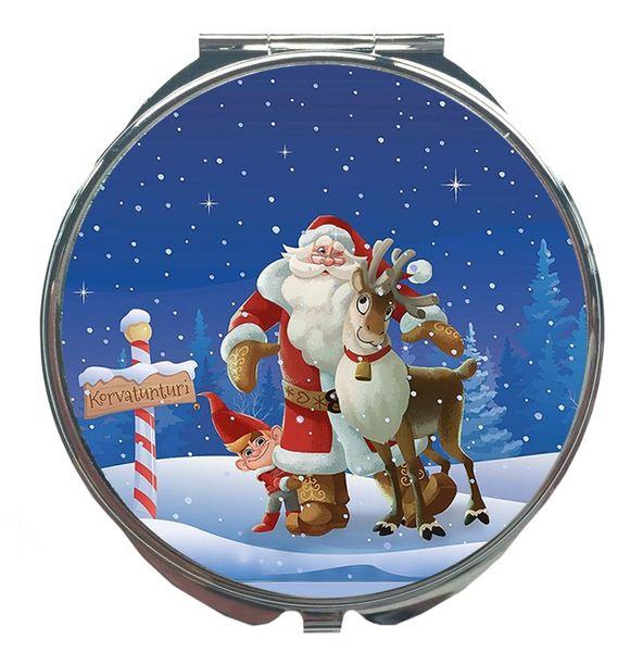 Pocket Mirror - Santa Claus and Reindeer