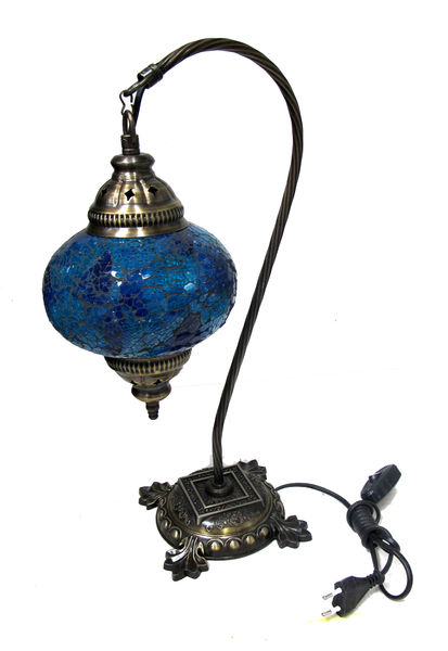 Mosaic table lamp blue